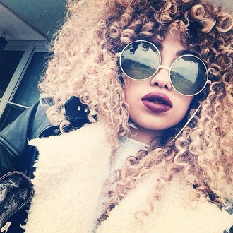 perfecto leather jacket sunglasses cute curly hair lipstick round sunglasses