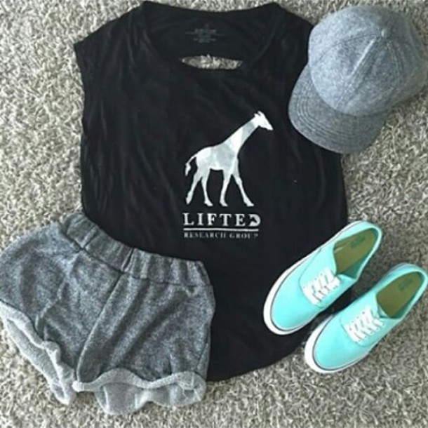 t-shirt black quote on it hat shoes white shorts giraffe grey top