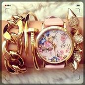 jewels,bracelets,arm candy,cute,gold chain link bracelet,studded bracelet,flowers,watch,gold