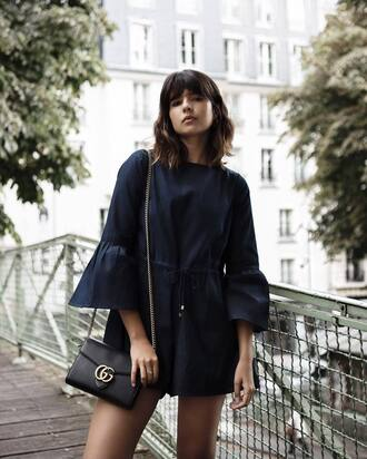 romper tumblr denim romper bell sleeves bag black bag gucci gucci bag chain bag