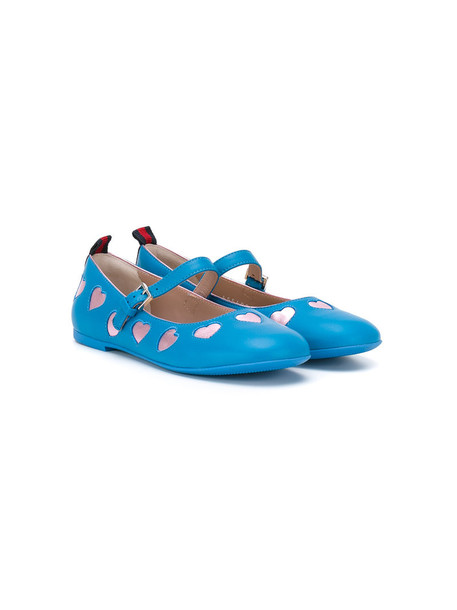 Gucci Kids heart leather blue shoes
