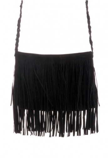 Black Fringe Knit Strap Shoulder Bag - Retro, Indie and Unique Fashion
