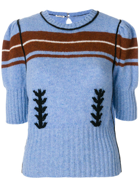 Miu Miu - puff sleeve jumper - women - Virgin Wool - 38, Blue, Virgin Wool