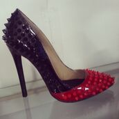 shoes,black pumps,red pumps,black and red heels,high heels,high heel pumps,black and red pumps