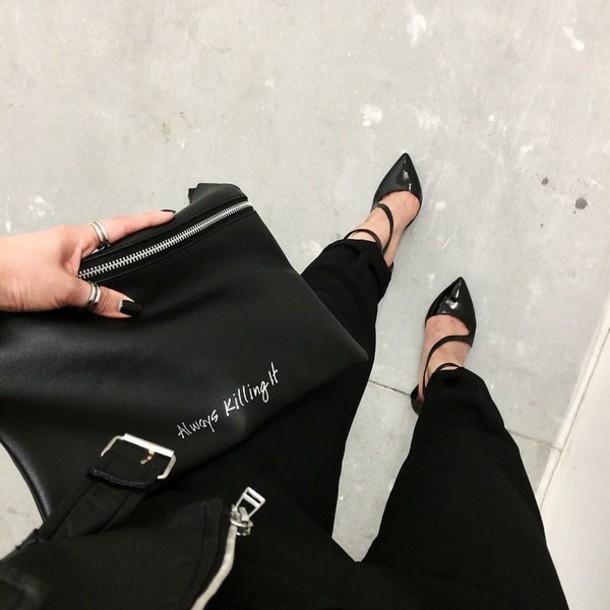 bag black killin it clutch purse