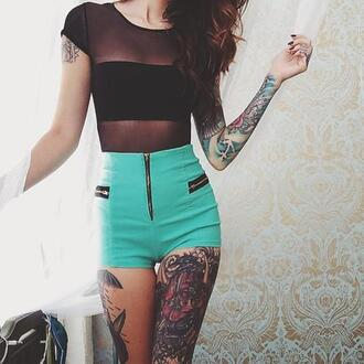 shorts t-shirt green shorts summer outfits tumblr outfit girl inked shirt black t-shirt top black top hairstyles girly zipper