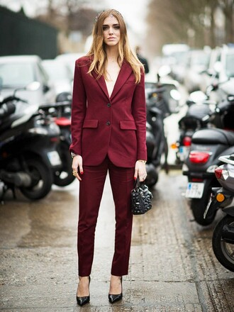 bag blazer red blazer black bag chiara ferragni the blonde salad top blogger lifestyle blogger pants womens suit red pants burgundy pointed toe pumps pumps black pumps high heel pumps streetstyle embellished bag power suit