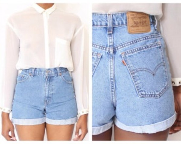 shorts High waisted shorts high rise cute jeans denim high waisted denim shorts vintage shirt High waisted shorts High waisted shorts blouse