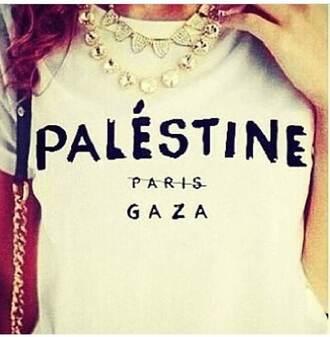 top freedo t-shirt palestine paris gaza white