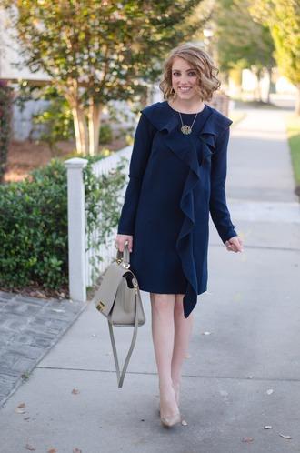 something delightful blogger dress shoes jewels bag ruffle dress blue dress grey bag high heel pumps