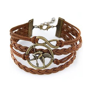 Hunger games mocking jay and letter 8 infinity in antique bronze leather paracord bracelet: amazon.co.uk: jewellery