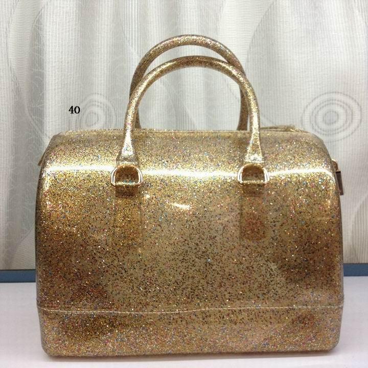Glitter Jelly Rubber Furla Boston Bag Candy Gold - $95.12 :
