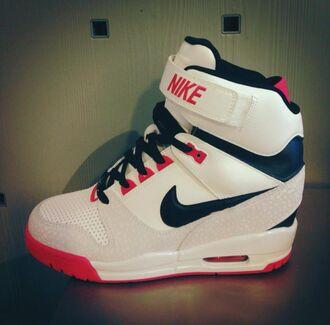 shoes nike nike air nike sneakers air max high top sneakers sneakers platform sneakers wedge sneakers girls sneakers hip hop white white sneakers black red