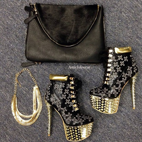 golden shoes studded shoes necklace booties