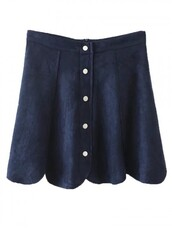 skirt,Choies,navy button skirt,scallop edge faux skirt,faux suede mini skirt