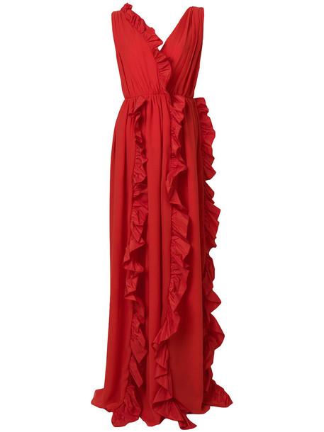 gown ruffle women red dress