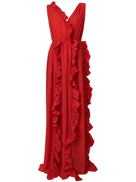 MSGM gown ruffle women red dress