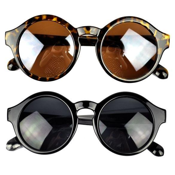 Vintage Stylish Women Men Plastic Round Frame UV400 ...