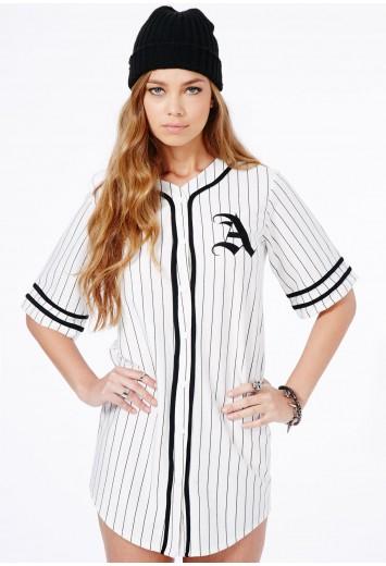 """Paris Oversized """"A"""" Baseball Shirt Dress -Dresses -  T-Shirt Dresses - Missguided"""