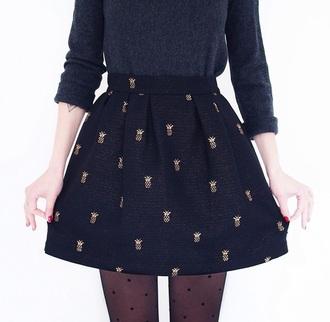 skirt print pineapple print pineapples pineapple pineapples skirt black skirt cute skirts top cute oufit tights tight polka dots