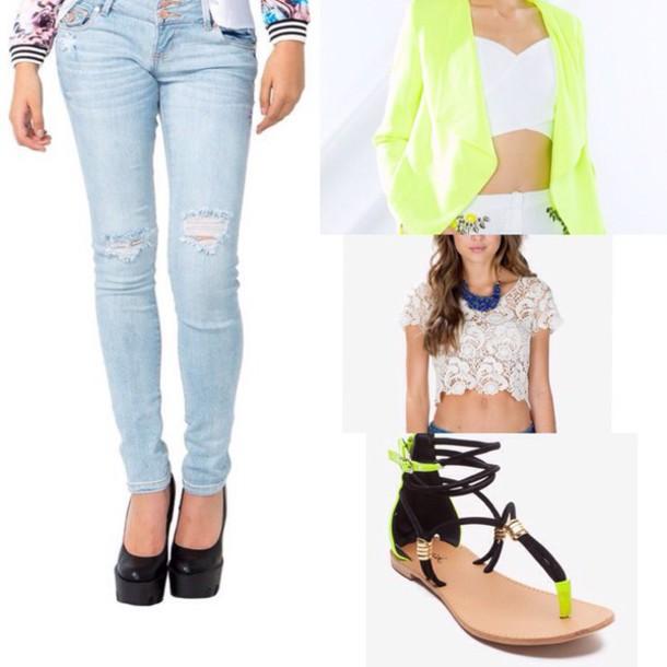 jacket jeans pants ripped jeans neon blazer neon blazer light denim distresed ripped ton torn ble yellow blazer/ coat/ white top tank top t-shirt