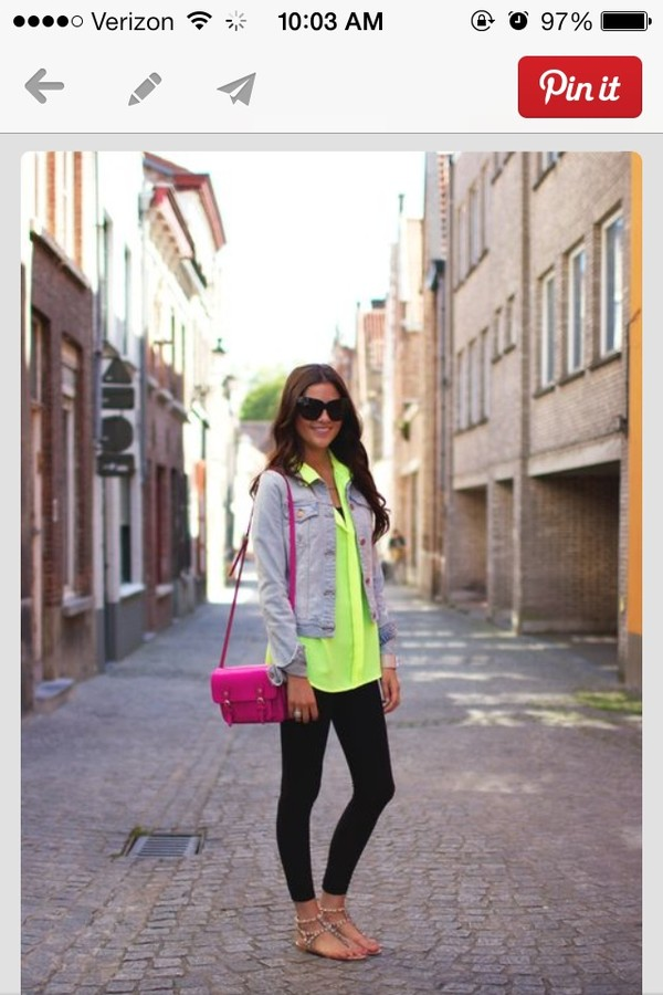 blouse neon green long sleeves