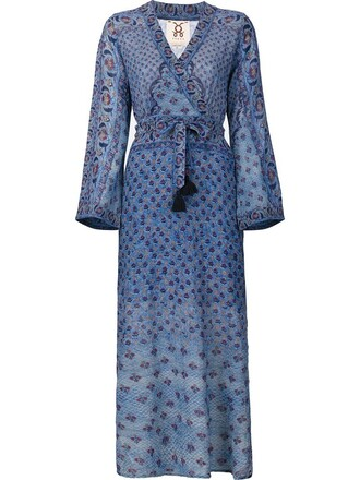 dress wrap dress women cotton blue