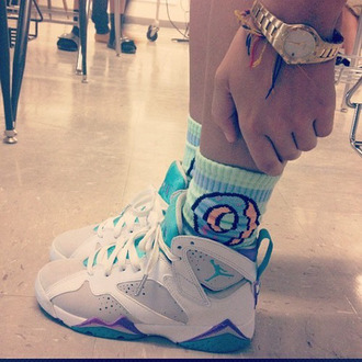 shoes turquoise grey and purple 7's socks donut dope swag