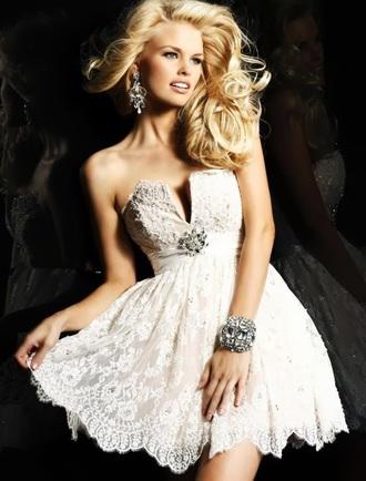 dress white cream lace dress strapless dress jewels