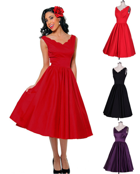 Vintage Style Women Round Neck Long Sleeve High Waist Chiffon Bottoming Dress-Dresses-Shop