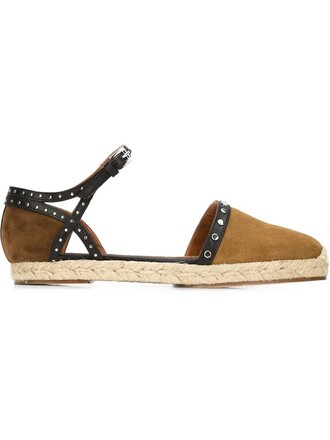 metal ankle strap women espadrilles suede brown shoes