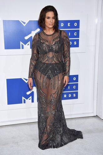 dress vma ashley graham curvy plus size dress plus size maxi dress long dress mesh mesh dress lace dress black lace dress underwear black underwear gown mtv