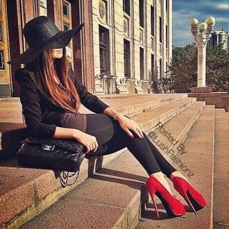 shoes redheels jacket jeans blause bag black jacket