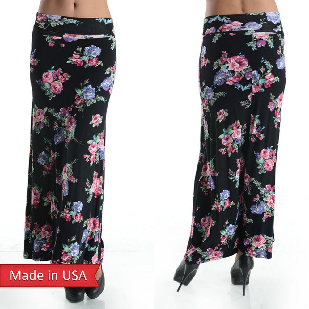 New black soft rayon floral retro chic flower bouquet print long maxi skirt usa