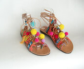 shoes,sandals,gypsy sandals,womens sandals,boho sandals,pompom sandals,wholesale womens sandals,women,womens shoes cheap