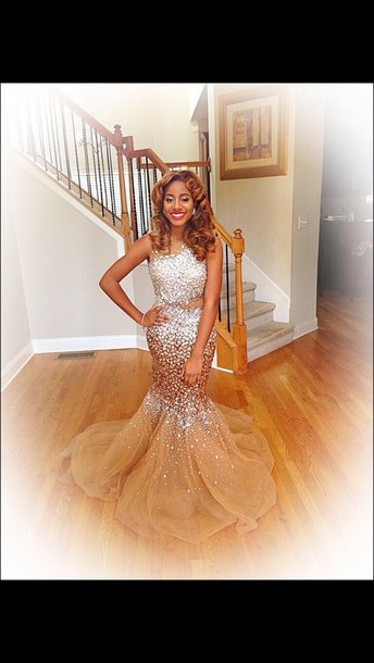 dress brown pretty shiny prom gorgeous prom dress long prom dress rhinestones glitter mermaid sparkly gold mermaid prom dress champagne dress champagne prom dress promdress gold sexy long gold dress shoes