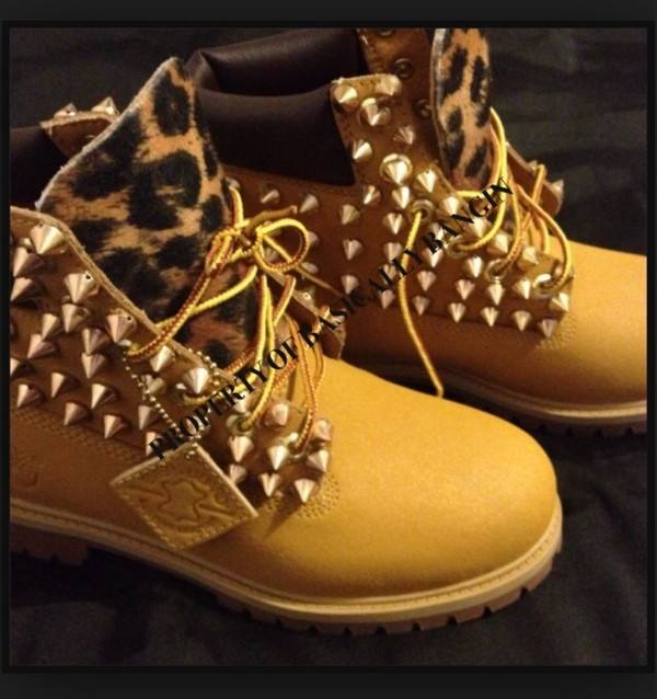 shoes leopard timberlands studded women