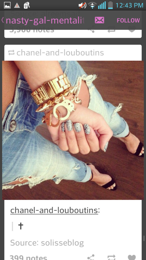 jewels hand cuffs gold jewelry spiked bracelet gold watch jeans
