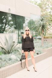modern ensemble,blogger,top,shorts,shoes,bag,sunglasses,pumps,black heels,black blouse,all black everything