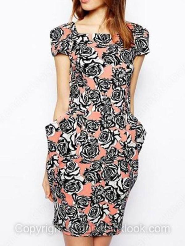 pink dress print dress floral floral dress roses chic elegant handpicklook.com