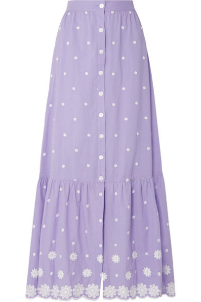 Miguelina - Aiden Embroidered Cotton-voile Maxi Skirt - Purple
