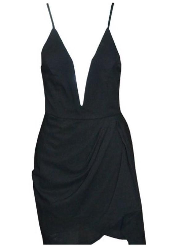 dress low cut dress party dress little black dress