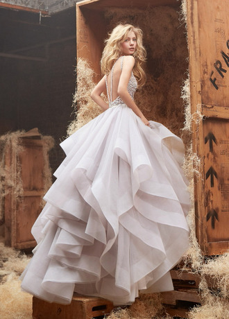 couture dress fairy tale dress hayley paige dori ivory ball gown halter horsehair tulle skirt corset bodice flounced skirt chapel train alabaster cashmere princess dress