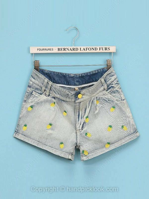 Light Blue Pineapple Embroidery Button Fly Shorts - HandpickLook.com