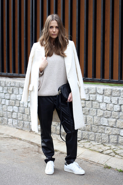 fashion and style blogger bag white coat white sneakers black pants winter sweater boyish winter swag