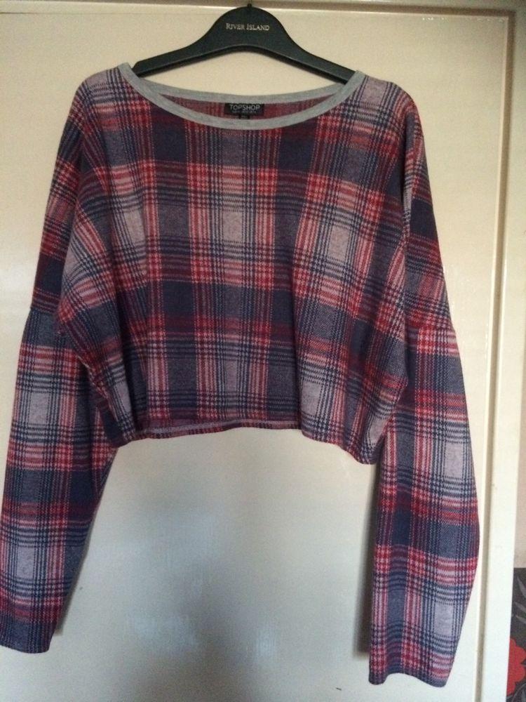 Top shop cropped tartan jumper 14