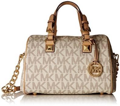 Michael Kors Medium Grayson Logo Satchel, Vanilla: Handbags