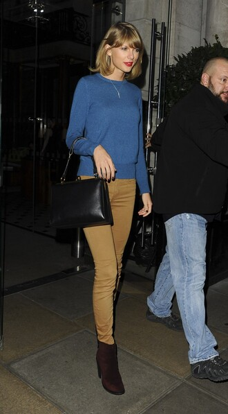 sweater pants ankle boots fall outfits mustard taylor swift