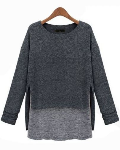 Grey Long Sleeve Contrast Asymmetrical Loose T-Shirt - Sheinside.com