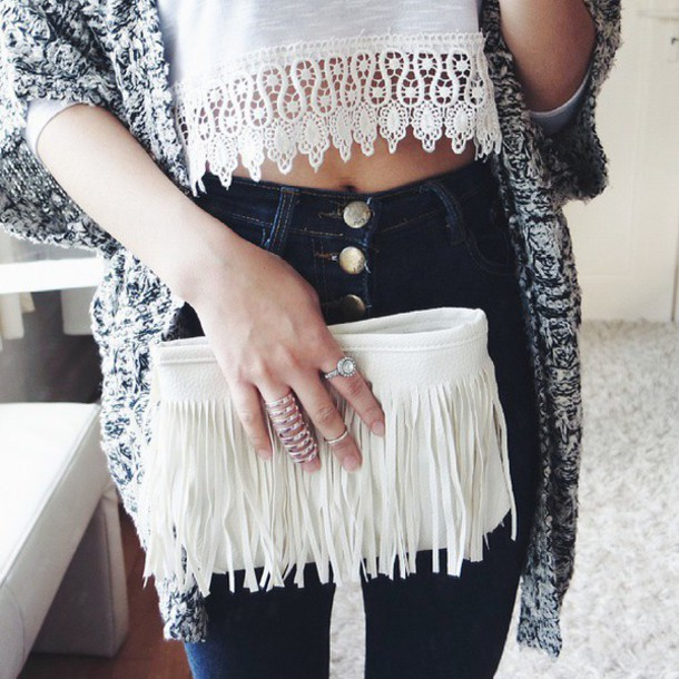 top white top sweater bag pants fringes fringed bag